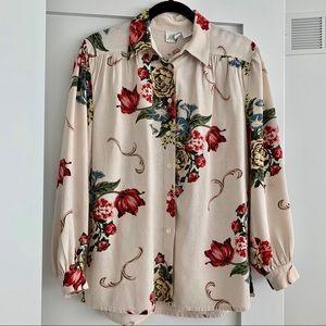 Vintage Raw Silk Floral Blouse